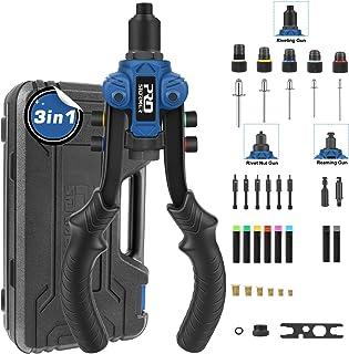 Rivet Nut Tool 3 in 1, PROSTORMER Rivet Gun Reamer Set, Professional Rivet Nut Setter Kit with 6 Metric/SAE Mandrels and 2...