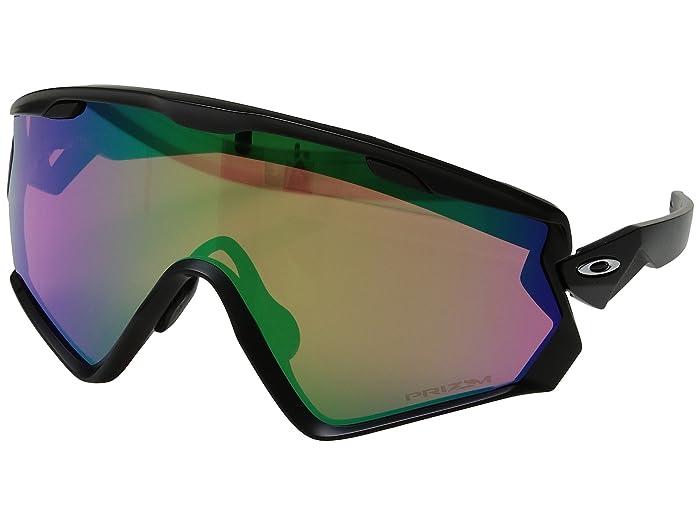Oakley Wind Jacket 2.0 Snow (Matte Black w/ Prizm Snow Jade) Athletic Performance Sport Sunglasses
