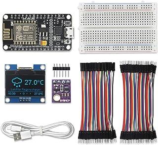 KeeYees WiFi ウェザーステーション キット IoT用 GY-BME280 温湿度 気圧センサーモジュール + ESP8266 NodeMCU LUA WiFiモジュール + 1.3インチ I2C OLED LCD ディスプレイ + ブレッドボード + ジャンパーワイヤー
