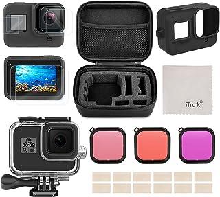 Kit de Accesorios para GoPro Hero 8 Black iTrunk 24 en 1 con Paquete Pequeño para la Carcasa Impermeable Protector de Pantalla Filtro Rojo Funda de Silicona para GoPro Hero 8 Black Cámara de Acción