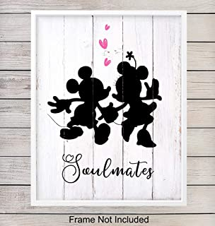 Minnie, Micky Mouse Soulmate Art Print, Farmhouse Rustic Wall Art Poster - Shabby Chic Apartment Home Decor for Bedroom, Bathroom - Engagement, Bridal Shower, Anniversary Gift for Disney Fans, 8x10