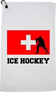 Hollywood Thread Switzerland Olympic - Ice Hockey - Flag - Silhouette Golf Towel with Carabiner Clip