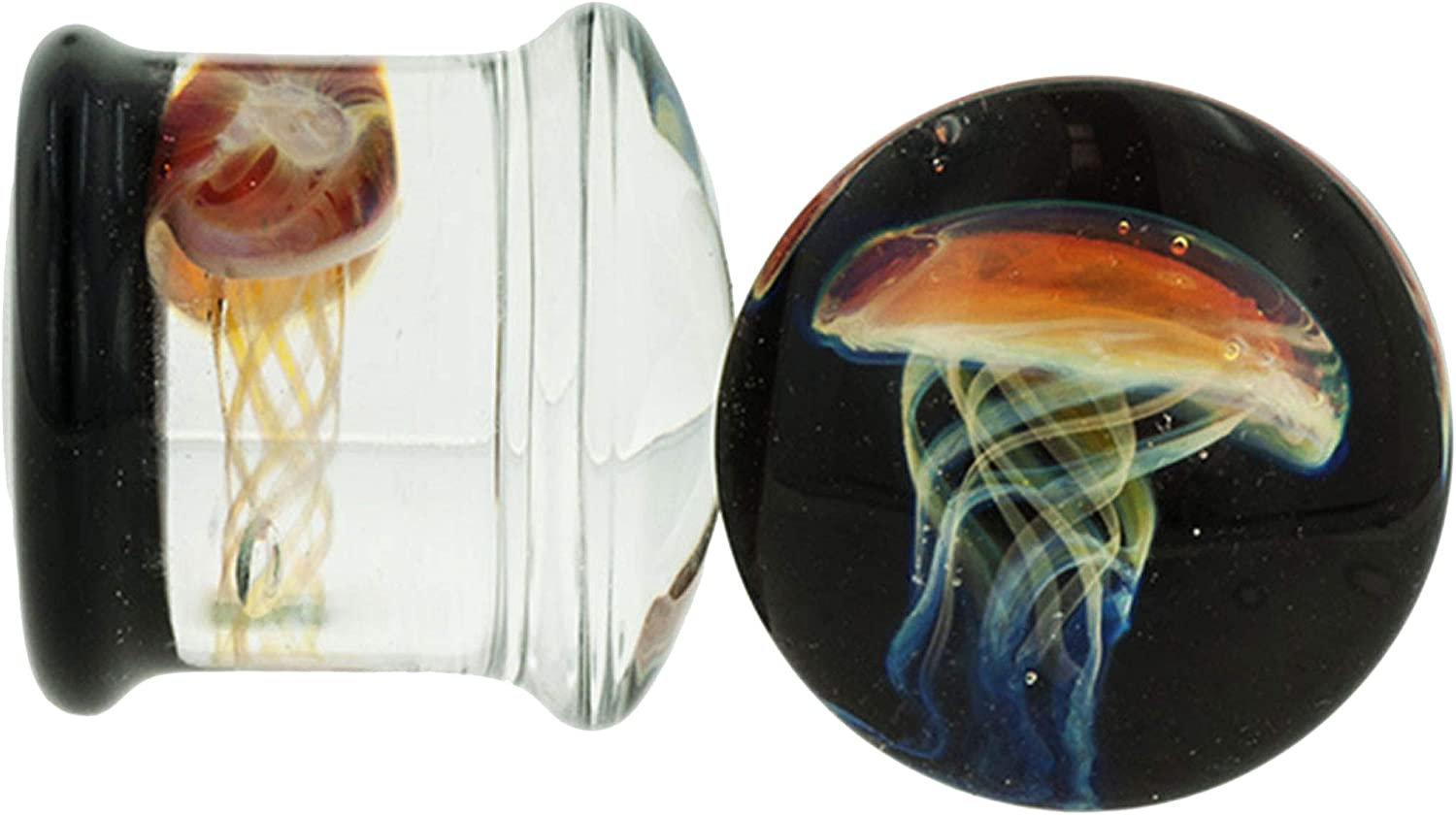 Pair of Glass Colorado Springs Mall Special price for a limited time Double Flared Purple Plugs: Amber Black Jellyfish