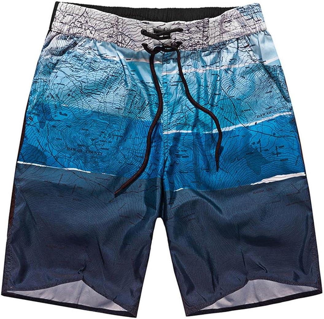 Men Summer Shorts Sports Swim Trunks No Mesh Work Casual Printed Beach Wear Pants Above Knee Capri Loose