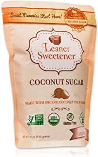 Leaner Sweetener: Organic Coconut Palm Sugar - A Healthy and Organic Sugar Alternative- Low Glycemic, Non-GMO (1lb Bag)