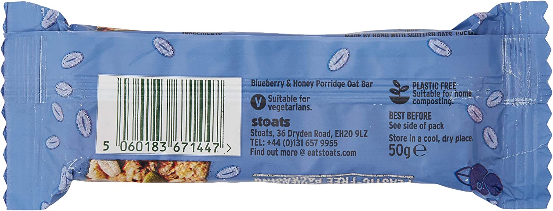 Stoats Blueberry & Honey Porridge Oat Bars, 20g Pack of 20 ...