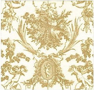 20 Unidades per Package Chickadee and Magnolia-Servilletas de Papel Color Dorado Caspari Paper Cocktail Napkins in Gold