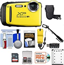 Fujifilm FinePix XP130 Shock & Waterproof Wi-Fi Digital Camera (Yellow) with 32GB Card + Battery + Cases + Float Strap + Selfie Stick + Ultimate Deals Cloth