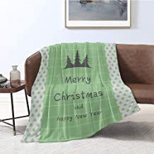 Jecycleus Christmas Happy New Year Tree Grid, Warm Microfiber All Season Blanket, Print Artwork Image 60x50 Inch