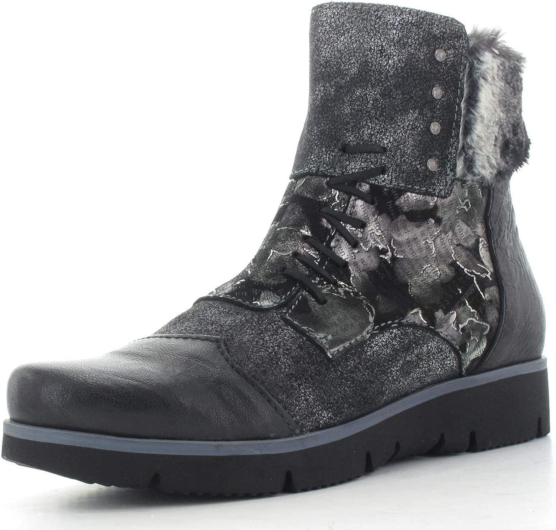 Charme Stiefel 6043L-18 - Obermaterial Echtleder schwarz grau kombiniert - - - Fleecefutter 8fd