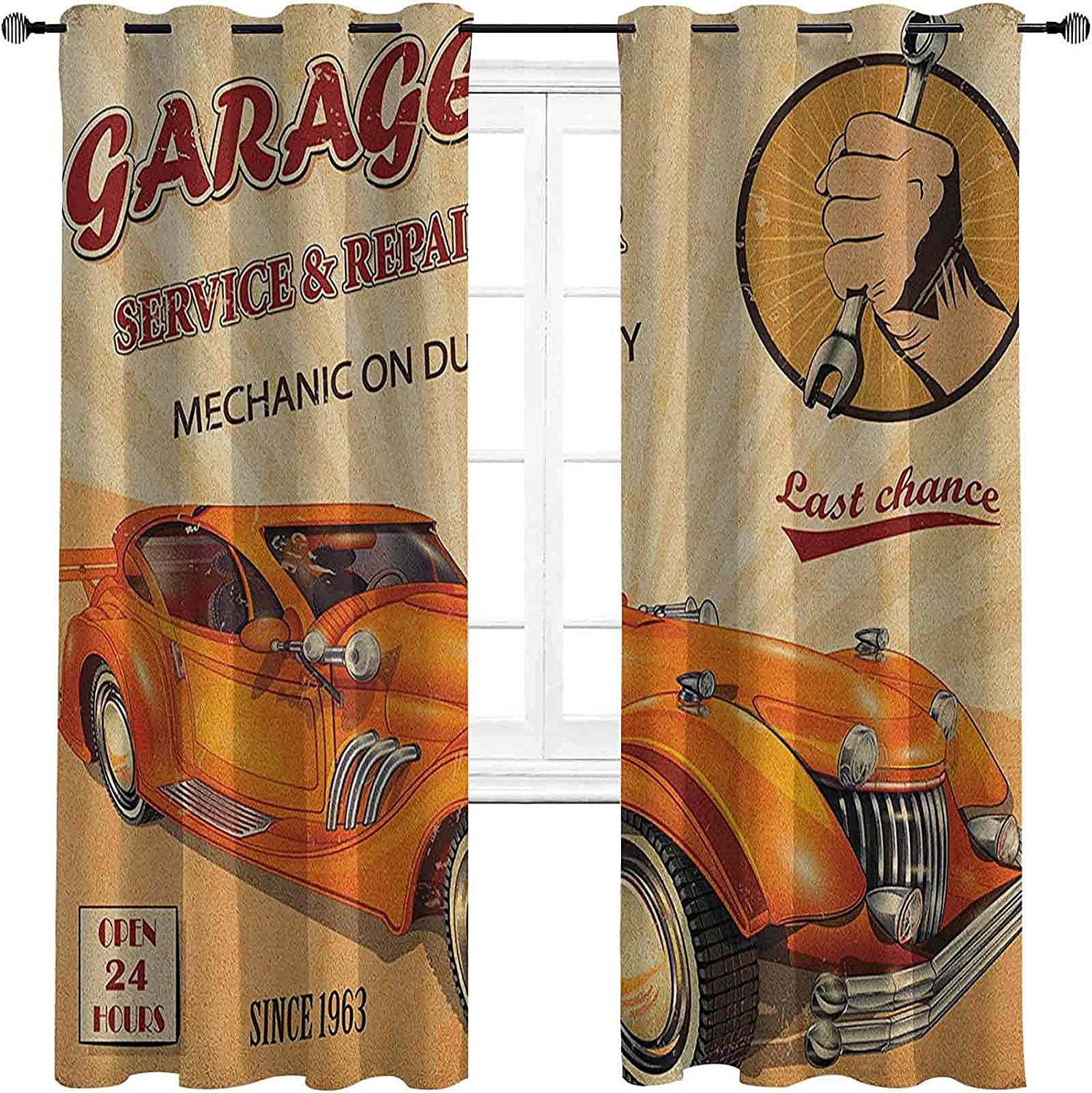 Branded goods Retro High-Strength Blackout Curtains Vintage Advertisin Garage Limited time cheap sale