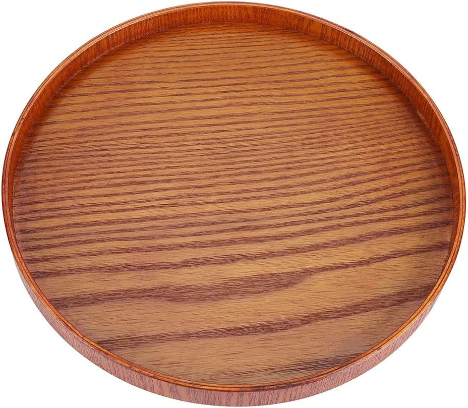 Serving Tray, Round Natural Wood Serving Tray Wooden Plate Tea Food Server Dishes Water Drink Platter (33cm)