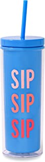 Kate Spade New York Insulated Tumbler with Reusable Silicone Straw, 20 Ounce Blue Acrylic Travel Cup with Lid, SIP SIP SIP