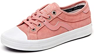 SALT&SEAS Women Adult Fashion Sneakers PU Leather Lace Up Lightweight Low Top Casual Shoes