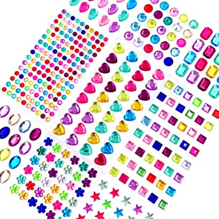 Self Adhesive Jewels Stickers,Flat Back Rhinestone Stickers Gem Stickers Self Adhesive Bling Jewels for Crafts