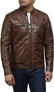 Brown Leather Jacket Men - Cafe Racer Real Leather Mens Lightweight Motorcycle Jacket for Men