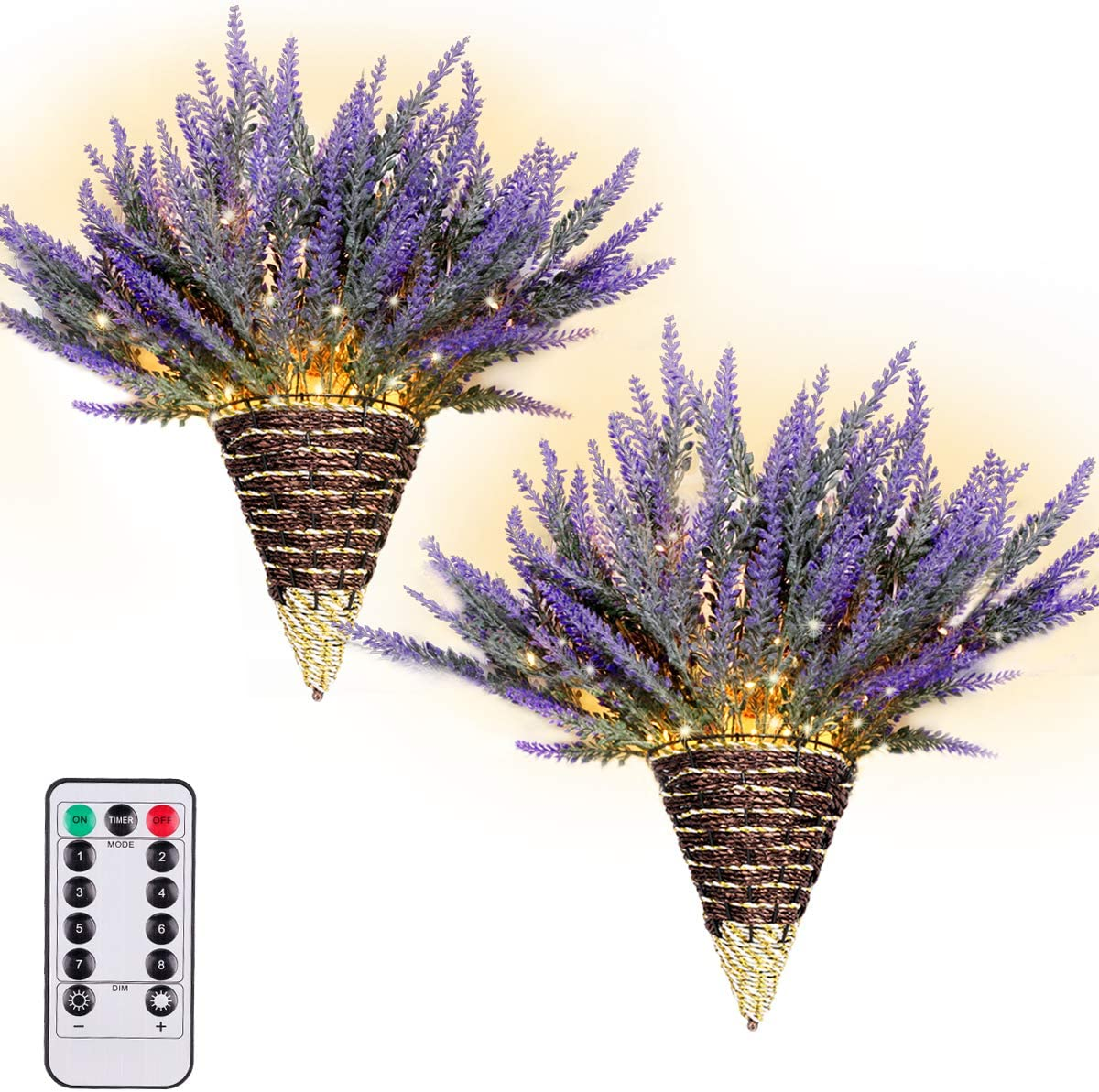 TianQin WY Artificial Lavender Plant,Handmade Wall Decor Hanging Design with LED Fairy Lights Living Decor,Farmhouse Kitchen Decorations Wall Home Decor Bathroom 2 Pack (Purple)