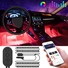Govee Interior Car Lights, Car LED Strip Light Upgrade Two-Line Design Waterproof 4pcs 48 LED APP Controller Lighting Kits, Multi DIY Color Music Under Dash Car Lighting with Car Charger, DC 12V