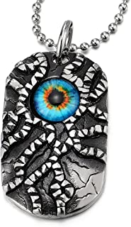Triangle Pendentif de Protection Collier Femmes Homme Acier Inoxydable COOLSTEELANDBEYOND Rouge Mauvais /œil avec 60CM Cha/îne de Boule