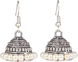 Oxidized Light Weight Beaded Indian Earrings Jewelry for Girls and Women
