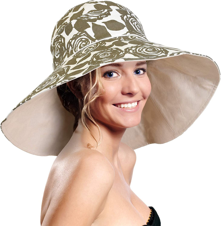 Womens 5'' Super Wide Brim Sun Hats Summer UPF 50+ Beach Hat Foldable Floppy Rose Cap