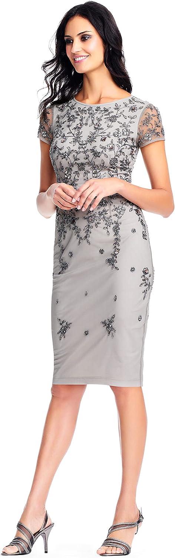 Adrianna Papell Women's Short Sleeved Beaded Cocktail Dress