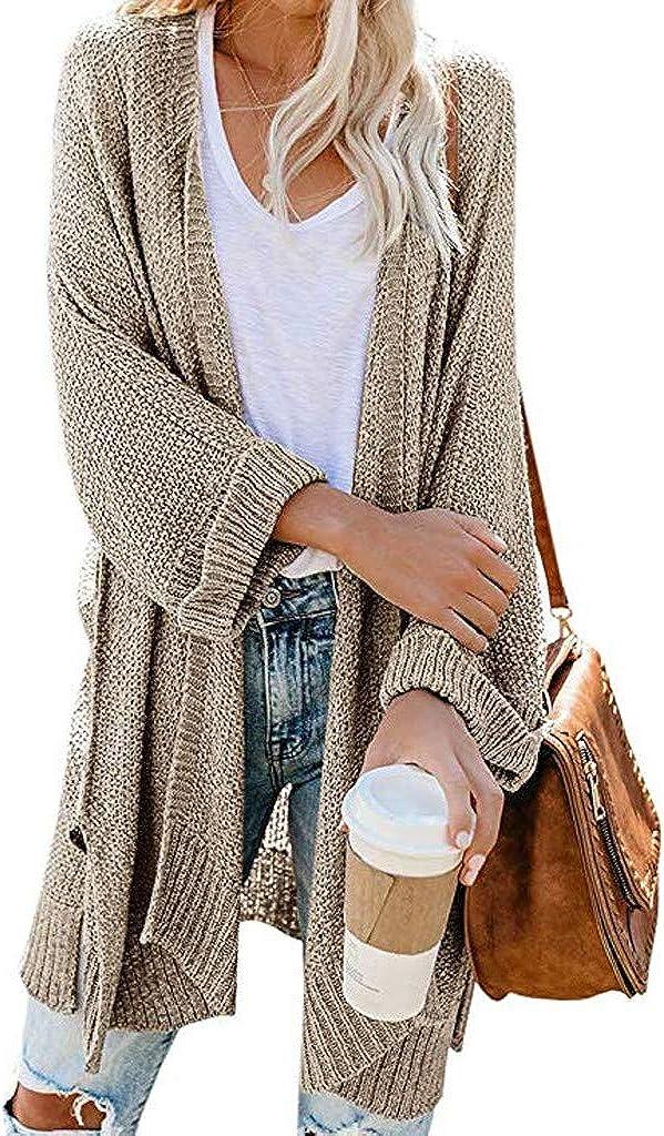 SPORTTIN Womens Cardigan Sweater Lightweight Long Sleeve Color Block Striped Open Front Chunky Knit Outwear Coat