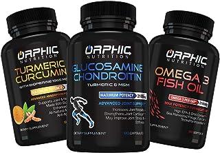 Glucosamine Chondroitin, Turmeric Curcumin & Omega 3 Fish Oil (90+90+90 Pills) - Anti Inflammatory Support Supplements for...
