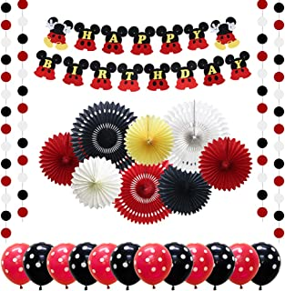 Meiduo Mickey Mouse Birthday Party Supplies for Boys Red Black Minnie Mouse Birthday Decorations for Girls Baby Shower Dec...