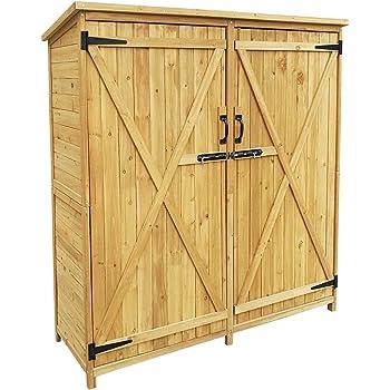 WilTec Armario de jardín con 2 Puertas 1350x500x1540mm cobertizo, caseta Madera de pícea con Techo de betún: Amazon.es: Jardín