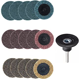 Yakamoz 15pcs 2 Inch Roll Lock Surface Conditioning Sanding Disc with Roloc Disc Pad Holder, Quick Change R-Type Discs   Fine Medium Coarse Grit