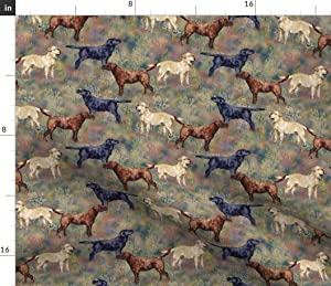 Spoonflower Fabric - Chocolate Black Yellow Labrador Retrievers Wildflower Field Dog Puppy Printed on Petal Signature Cotton Fabric by The Yard - Sewing Quilting Apparel Crafts Decor