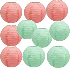 Birthday Decorations Baby Shower Decorations Bridal Shower Decorations Wedding Decorations Christening Decorations Nursery Decor Room Decor Mixed Coral Mint Green Paper Lanterns 8inch 10Pcs