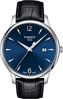 Tradition Mens Blue Dial Leather Swiss Watch T0636101604700