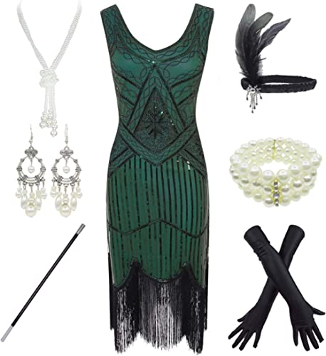 1920s Gatsby Sequin Fringed Paisley Flapper Dress with 20s Accessories Set (2.