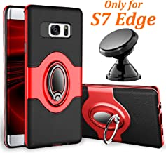 eSamcore Samsung Galaxy S7 Edge Case Ring Holder Kickstand Cases + Dashboard Magnetic Phone Car Mount [Red]
