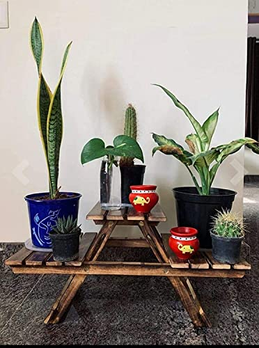 Craft Bazar Store Vintage Wooden Multipurpose Folding Side Rack Flower vase Outdoor Plant Stand with 3 Decks for Home Decor Room