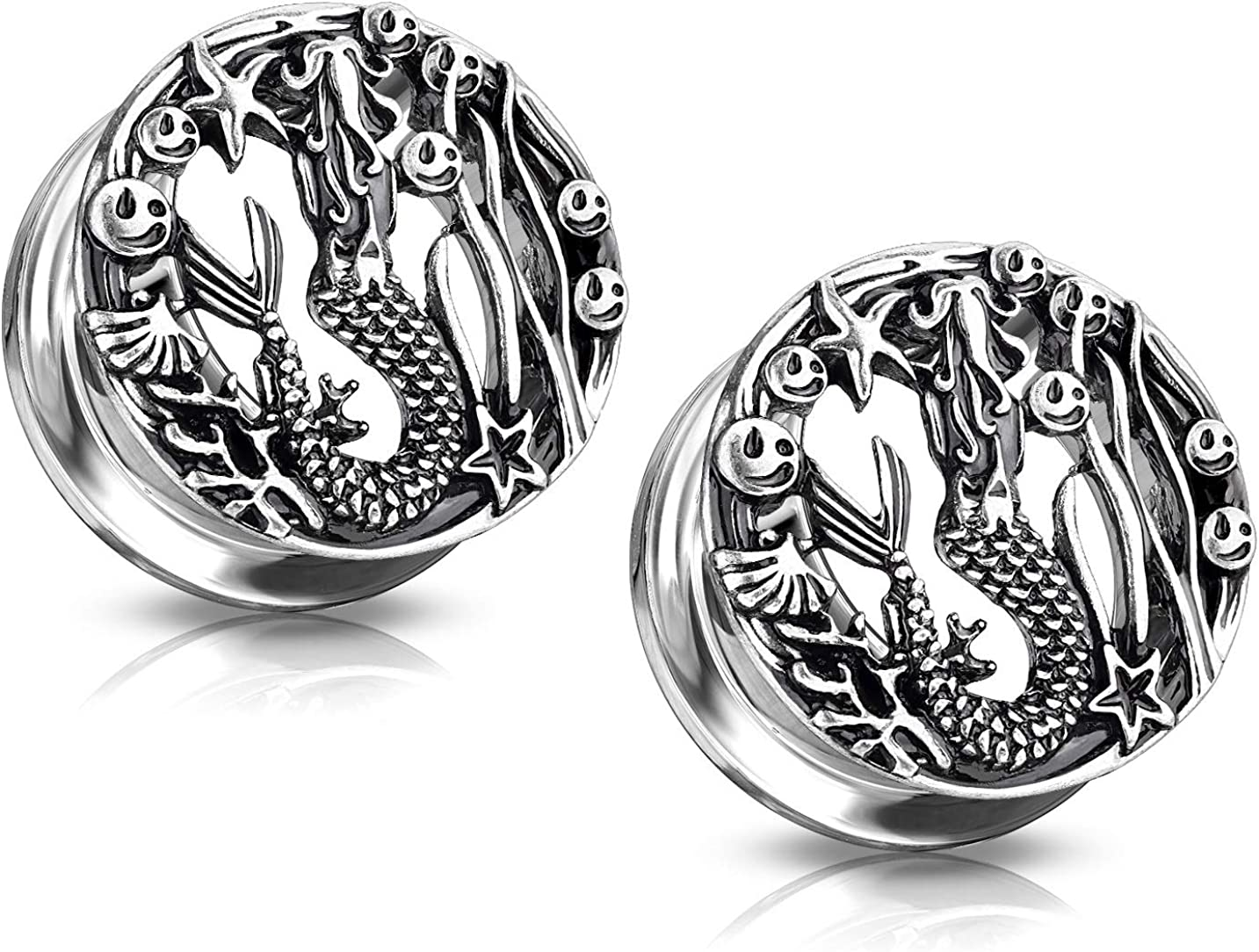 Pierced Owl Antique Silver Plated Mermaid Front-Facing Ranking TOP14 Sales for sale Sc Design