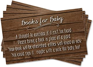 25 Books for Baby Request Inserts for Shower Invitations, Rustic Dark Wood