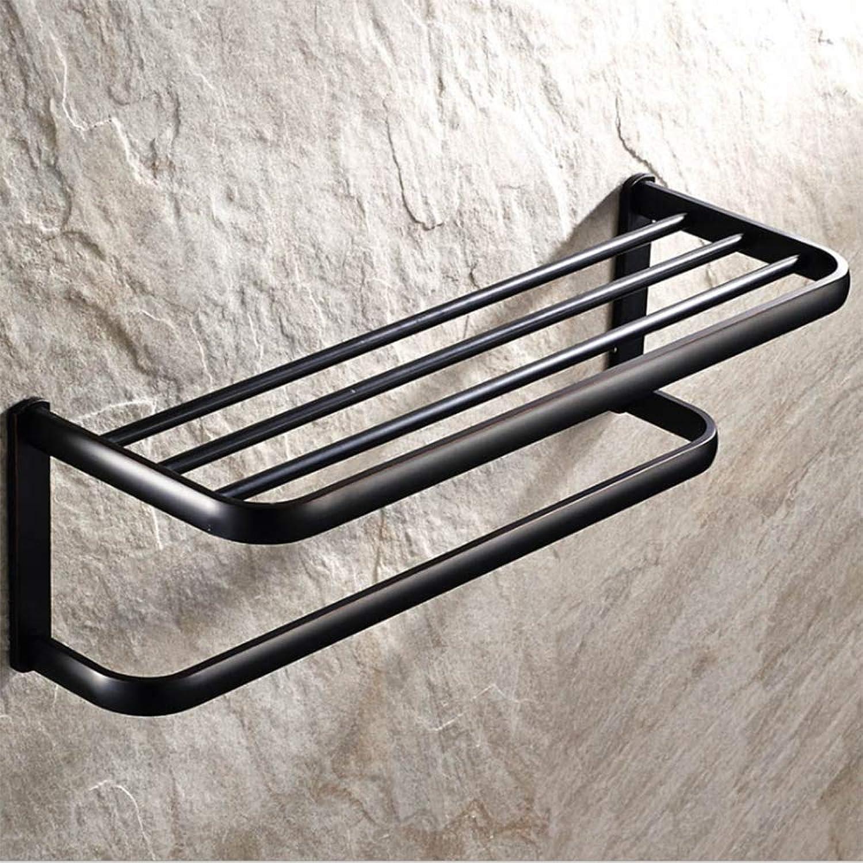 Towel Rack, Hand-Brushed Copper Black Towel Rack, Bathroom Shelf Pendant