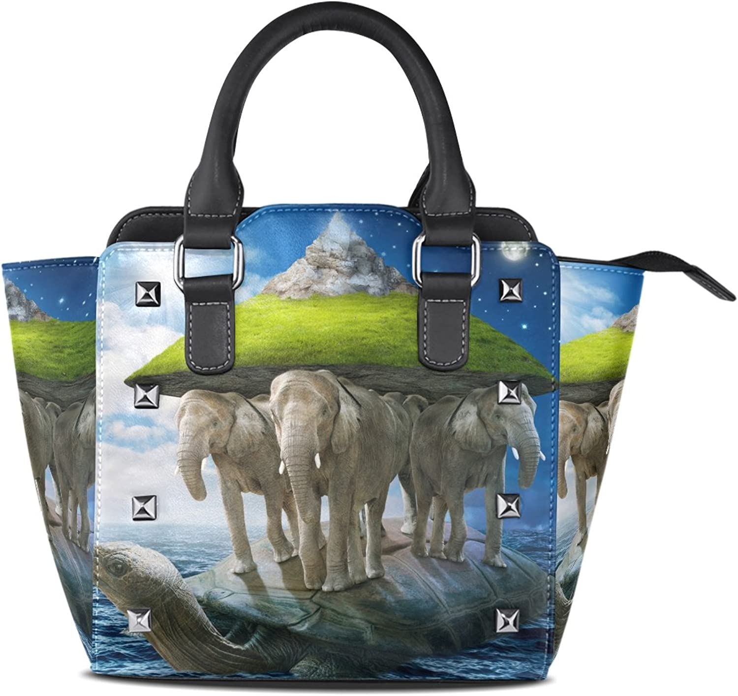 Sunlome World Turtle Carrying The Elephants Print Handbags Women's PU Leather Top-Handle Shoulder Bags