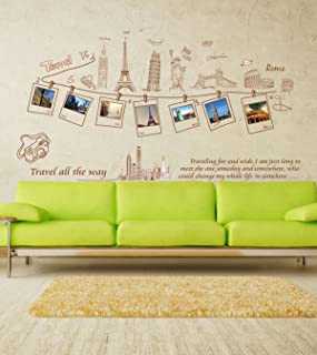 Decals Design 'Monuments Office Travel All The Way with Quote' Wall Sticker (PVC Vinyl, 60 cm x 90 cm, Multicolour) (XL8042)
