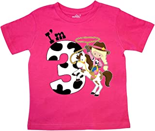 I'm Three-Cowgirl Riding Horse Birthday Toddler T-Shirt