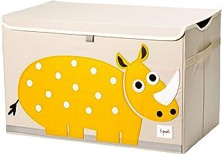3 Sprouts - Coffre à jouets pour enfants - Coffre de rangement pour la chambre des garçons et des filles, Rhinocéros