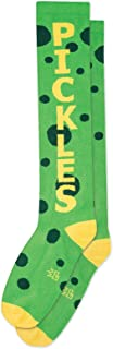PICKLES Socks by Gumball Poodle: Creative, Unisex Statement Knee Sock: Green & Yellow