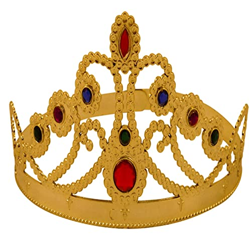 Royal King Queen GOLD CROWN Mens Ladies Adults Kids Fancy Dress Costume Toy UK