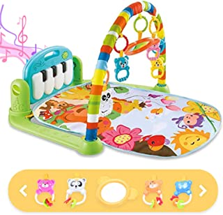 Sponsored Ad - Baby Gym Baby Play Mat, Kick and Play Piano Gym with 5 Infant Learning Sensory Baby Toys, Musical Toys As B...