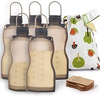 Haakaa Silicone Breastmilk Storage Bag Reusable Milk Storage Bag Breast Milk Freezer Bag 260ml, 5pcs