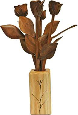 JustPaperRoses Hand Carved 5 Wood Roses in Vase, 5th Wedding or Valentines Day Present.