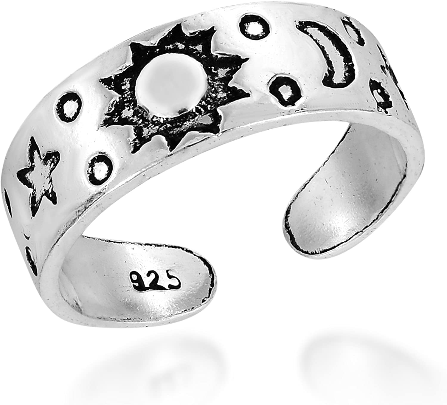 Celestial Sky Sun Moon and Star 70% OFF Outlet Mail order cheap .925 Sterling or Ring Silver Toe